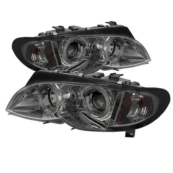 Spyder 5042422:  BMW E46 3-Series 02-05 4DR 1PC Halo Projector Headlights - Smoke  - (PRO-YD-BMWE4602-4D-AM-SM)