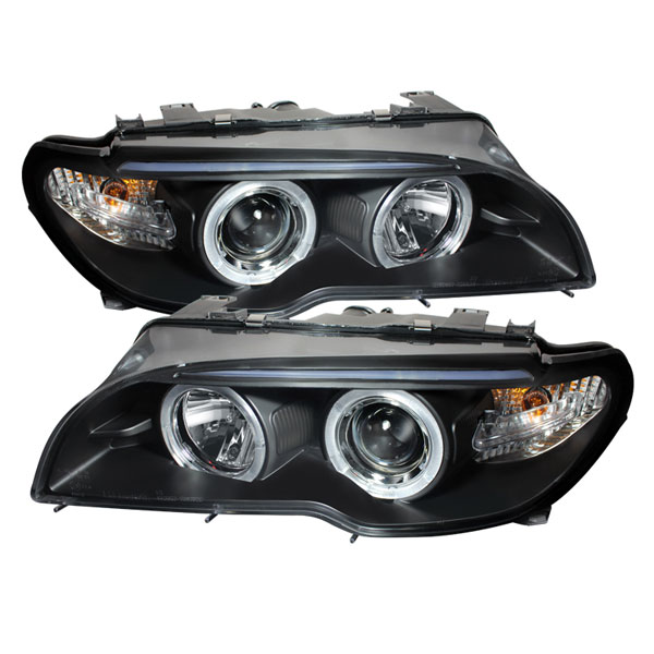 Spyder PRO-YD-BMWE4604-2DR-HL-BK:  BMW E46 3 SERIES 04-06 2 DR Projector Headlight - Halogen Model Only ( Not Compatible With Xenon/HID Model ) - LED Halo - Black - High H1 (Included) - Low H7 (Included)