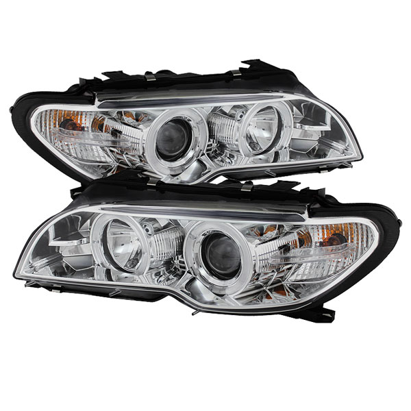 Spyder PRO-YD-BMWE4604-2DR-HL-C:  BMW E46 3 SERIES 04-06 2 DR Projector Headlight - Halogen Model Only ( Not Compatible With Xenon/HID Model ) - LED Halo - Chrome - High H1 (Included) - Low H7 (Included)