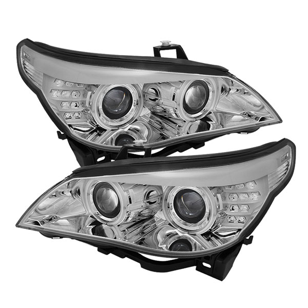 Spyder PRO-YD-BMWE6004-CCFL-C:  BMW E60 5-Series 04-07 Projector Headlights - Halogen Model Only ( Not Compatible With Xenon/HID Model ) - CCFL Halo - Chrome