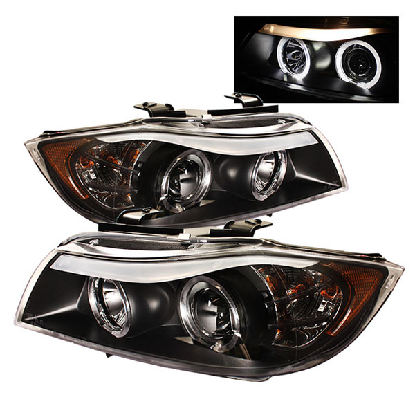 Spyder PRO-YD-BMWE9005-AM-BK:  BMW E90 3-Series 06-08 4Dr Halo Amber Eyebrow ( Replaceable Eyebrow Bulbs ) Projector Headlights - Black