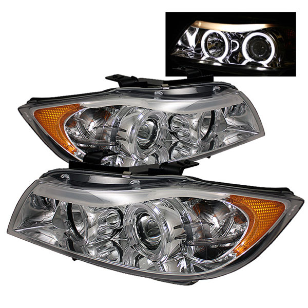 Spyder PRO-YD-BMWE9005-AM-C:  BMW E90 3-Series 06-08 4Dr Halo Amber Eyebrow ( Replaceable Eyebrow Bulbs ) Projector Headlights - Chrome
