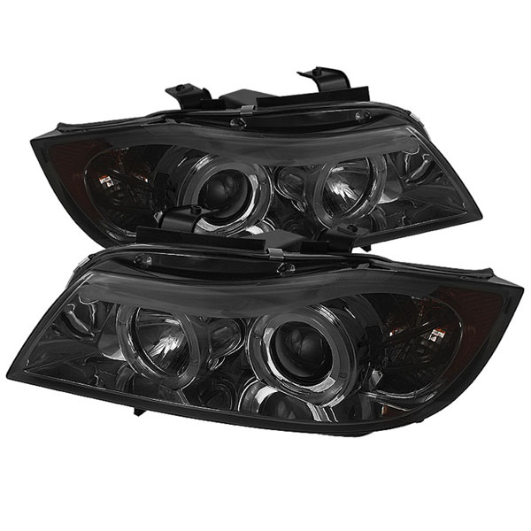 Spyder PRO-YD-BMWE9005-AM-SM:  BMW E90 3-Series 06-08 4Dr Halo Amber Eyebrow ( Replaceable Eyebrow Bulbs ) Projector Headlights - Smoke