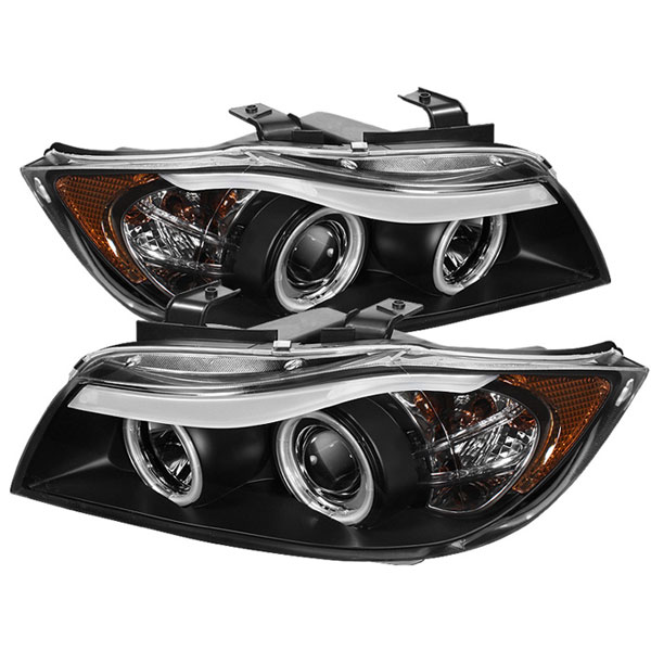 Spyder PRO-YD-BMWE9005-CCFL-BK:  BMW E90 3-Series 06-08 4Dr CCFL Amber Eyebrow ( Replaceable Eyebrow Bulbs ) Projector Headlights - Black