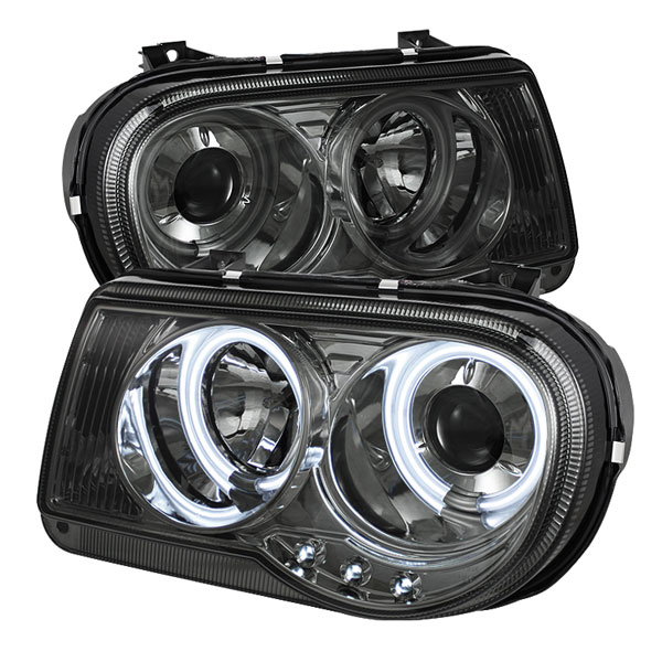 Spyder PRO-YD-C300C-CCFL-SM:  Chrysler 300C 05-10 CCFL LED ( Replaceable LEDs ) Projector Headlights - Smoke
