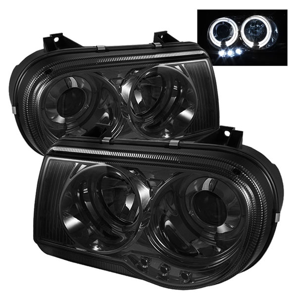 Spyder 5009159:  Chrysler 300C 05-10 Halo LED ( Replaceable LEDs ) Projector Headlights - Smoke  - (PRO-YD-C300C-HL-SM)
