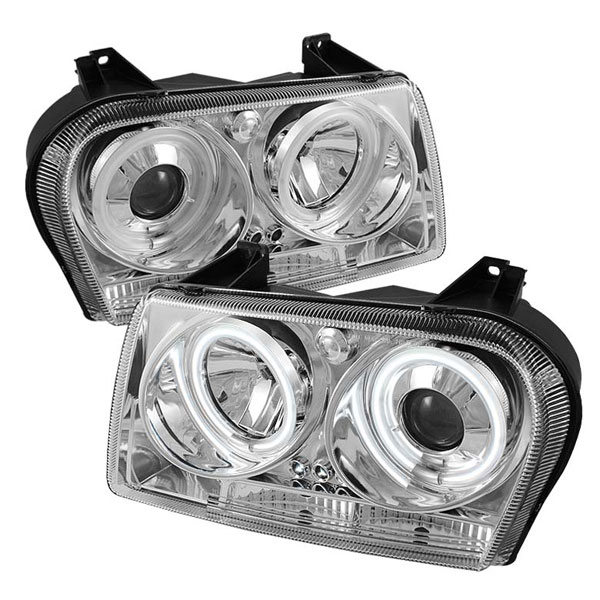 Spyder (5009173)  Chrysler 300 05-08 ( Dual Turn Signal Bulbs ) CCFL LED ( Replaceable LEDs ) Projector Headlights - Chrome  - (PRO-YD-C305-CCFL-C)