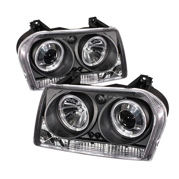 Spyder 5009180 | Chrysler 300 ( Dual Turn Signal Bulbs ) Halo LED ( Replaceable LEDs ) Projector Headlights - Black - (PRO-YD-C305-HL-BK); 2005-2008