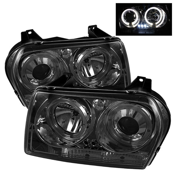 Spyder PRO-YD-C305-HL-SM:  Chrysler 300 05-08 ( Dual Turn Signal Bulbs ) Halo LED ( Replaceable LEDs ) Projector Headlights - Smoke