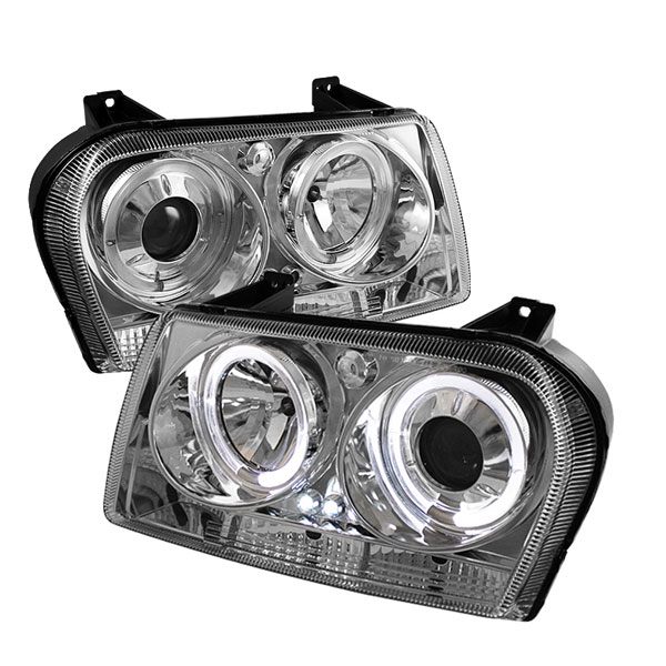 Spyder PRO-YD-C309-HL-C:  Chrysler 300 09-10 ( Signal Turn Signal Bulbs ) Halo LED ( Replaceable LEDs ) Projector Headlights - Chrome