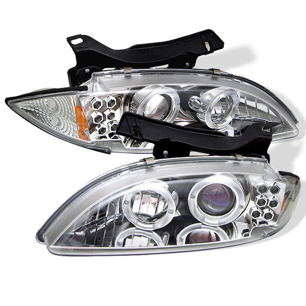 Spyder PRO-YD-CCAV95-C:  Chevrolet Cavalier 95-99 Halo LED ( Replaceable LEDs ) Projector Headlights - Chrome