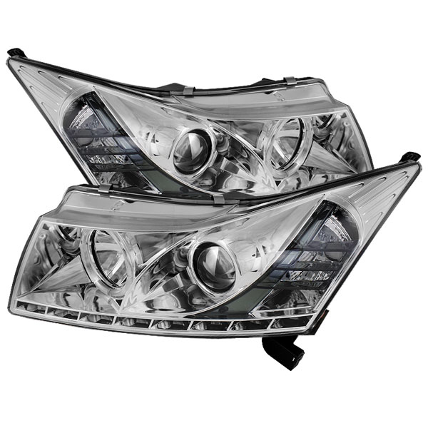 Spyder PRO-YD-CCRZ11-DRL-C:  Chevrolet Cruze 11-12 DRL LED Projector Headlights - Chrome