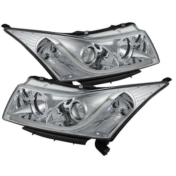 Spyder 5074171:  Chevrolet Cruze 11-13 Projector Headlights - Light Tube DRL - Chrome - High H1 (Included) - Low H7 (Included) - (PRO-YD-CCRZ11-LTDRL-C)