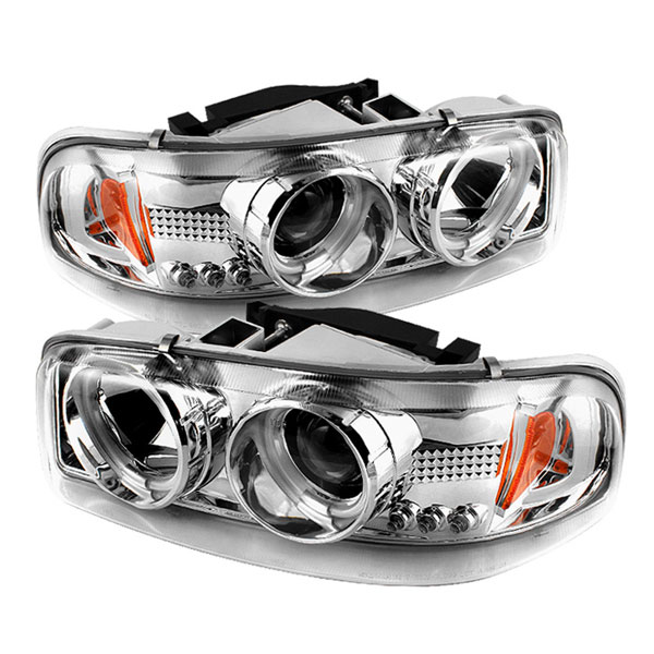 Spyder PRO-YD-CDE00-CCFL-C:  GMC Sierra 1500/2500/3500 99-06 CCFL LED ( Replaceable LEDs ) Projector Headlights - Chrome