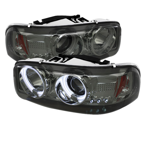 Spyder PRO-YD-CDE00-CCFL-SM:  GMC Yukon Denali 01-06 CCFL LED ( Replaceable LEDs ) Projector Headlights - Smoke