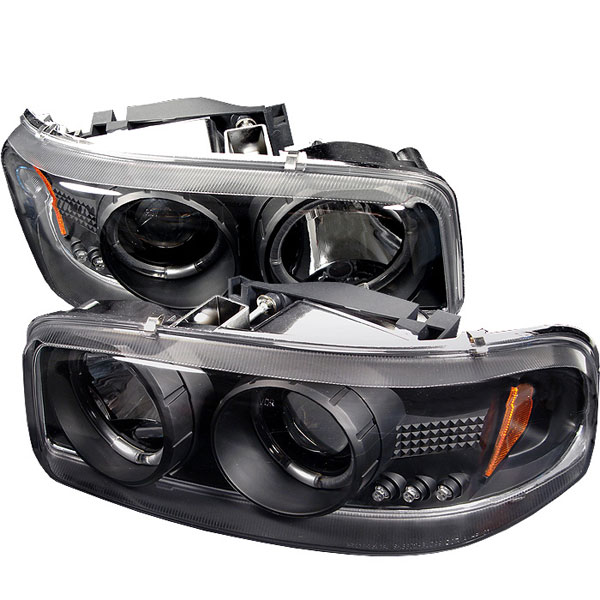 Spyder PRO-YD-CDE00-HL-BK:  GMC Yukon Denali 01-06 Halo LED ( Replaceable LEDs ) Projector Headlights - Black