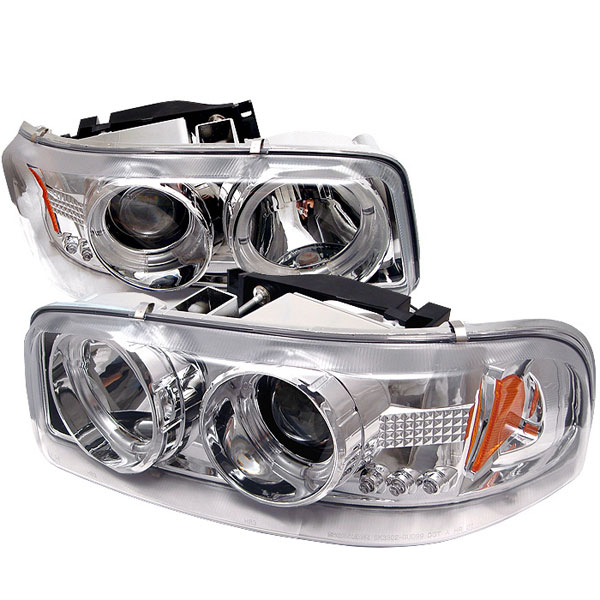 Spyder PRO-YD-CDE00-HL-C:  GMC Yukon Denali 01-06 Halo LED ( Replaceable LEDs ) Projector Headlights - Chrome