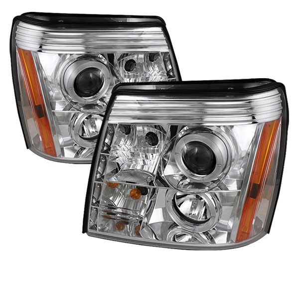 Spyder 5037930:  Cadillac Escalade 02-06 DRL Halo LED Projector Headlights - Chrome  - (PRO-YD-CE02-DRL-C)