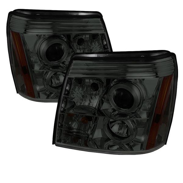 Spyder 5038067:  Cadillac Escalade 02-06 DRL Halo LED Projector Headlights - Smoke  - (PRO-YD-CE02-DRL-SM)