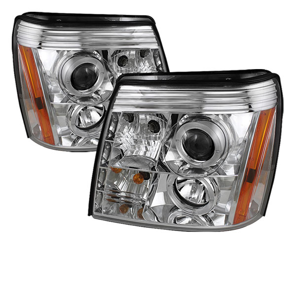 Spyder PRO-YD-CE02-HID-DRL-C:  Cadillac Escalade 02-06 ( HID Type ) DRL Halo LED Projector Headlights - Chrome