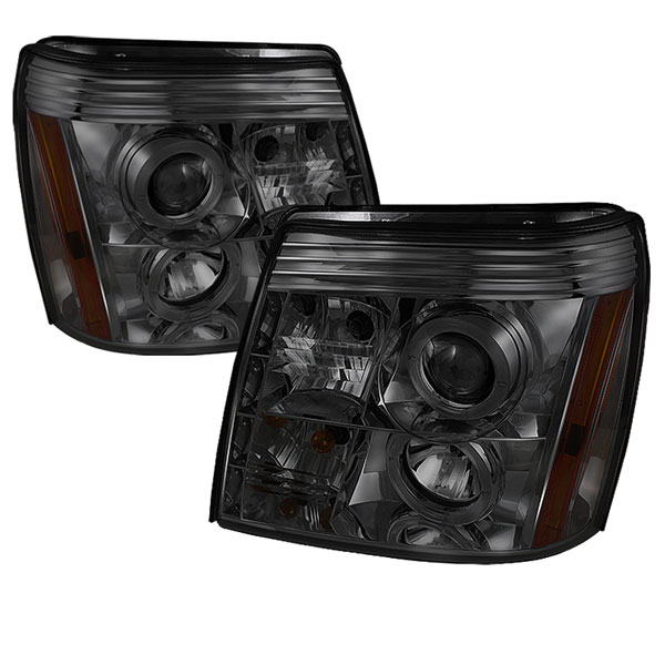 Spyder PRO-YD-CE02-HID-DRL-SM:  Cadillac Escalade 02-06 ( HID Type ) DRL Halo LED Projector Headlights - Smoke