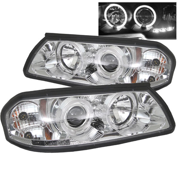 Spyder PRO-YD-CHIP00-HL-C:  Chevrolet Impala 00-05 Halo LED ( Non Replaceable LEDs ) Projector Headlights - Chrome
