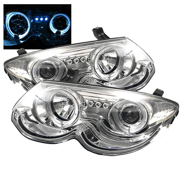 Spyder PRO-YD-CHR300M99-HL-C:  Chrysler 300M 99-04 Halo LED ( Replaceable LEDs ) Projector Headlights - Chrome