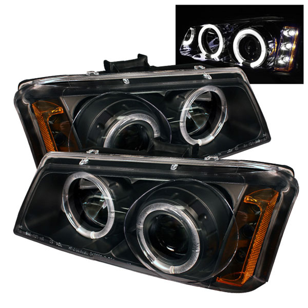 Spyder PRO-YD-CS03-AM-BK:  Chevrolet Silverado 1500/2500/3500 03-06 Halo LED ( Replaceable LEDs ) Projector Headlights - Black