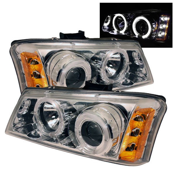 Spyder PRO-YD-CS03-AM-C:  Chevrolet Silverado 1500/2500/3500 03-06 Halo LED ( Replaceable LEDs ) Projector Headlights - Chrome