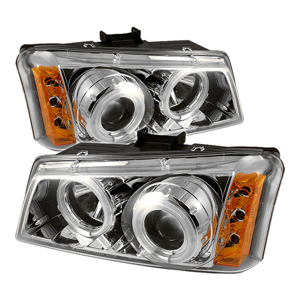 Spyder PRO-YD-CS03-CCFL-C:  Chevrolet Silverado 1500/2500/3500 03-06 CCFL LED ( Replaceable LEDs ) Projector Headlights - Chrome