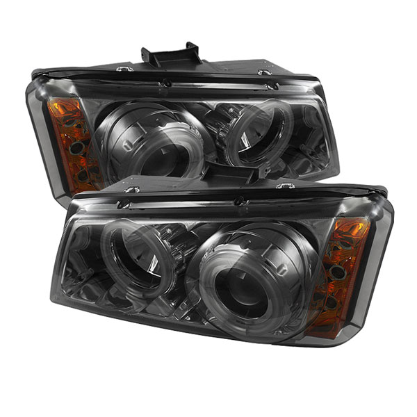 Spyder PRO-YD-CS03-CCFL-SM:  Chevrolet Silverado 1500/2500/3500 03-06 CCFL LED ( Replaceable LEDs ) Projector Headlights - Smoke
