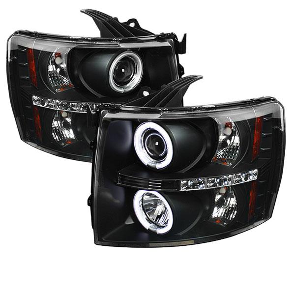 Spyder 5033864 | Chevrolet Silverado 1500/2500/3500 CCFL LED ( Replaceable LEDs ) Projector Headlights - Black - (PRO-YD-CS07-CCFL-BK); 2007-2013