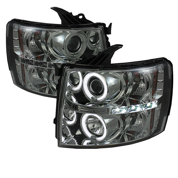 Spyder PRO-YD-CS07-CCFL-SM:  Chevrolet Silverado 1500/2500/3500 07-12 CCFL LED ( Replaceable LEDs ) Projector Headlights - Smoke
