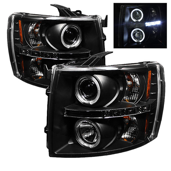 Spyder PRO-YD-CS07-HL-BK:  Chevrolet Silverado 1500/2500/3500 07-12 Halo LED ( Replaceable LEDs ) Projector Headlights - Black