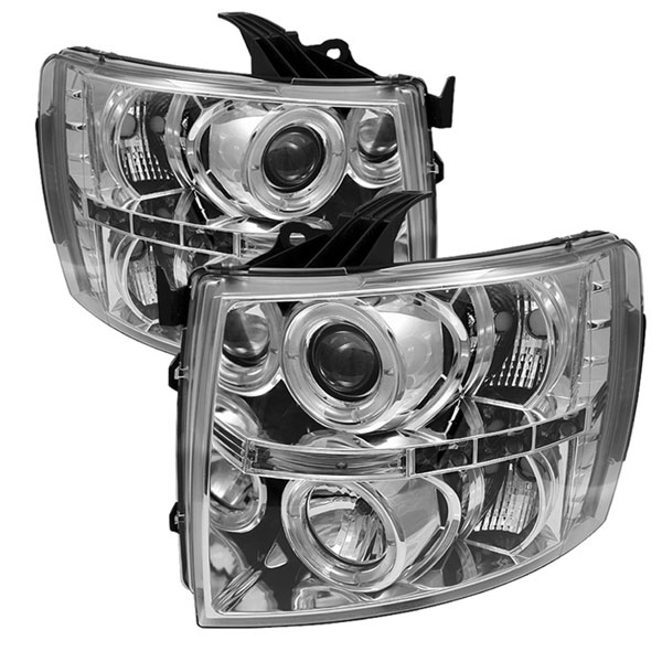 Spyder PRO-YD-CS07-HL-C:  Chevrolet Silverado 1500/2500/3500 07-12 Halo LED ( Replaceable LEDs ) Projector Headlights - Chrome