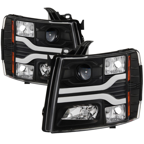 Spyder 5083609 | Chevy Silverado 1500 Version 3 Projector Headlights - LED DRL - Black - (PRO-YD-CS07V3-LBDRL-BK); 2007-2013