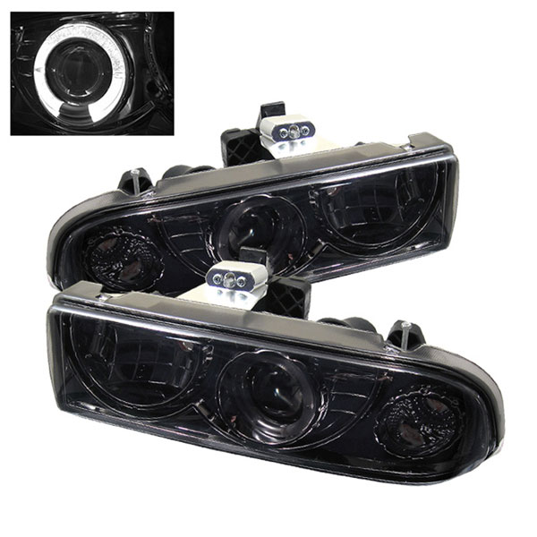 Spyder PRO-YD-CS1098-SMC:  Chevrolet S10 98-04 Halo Projector Headlights - Smoke