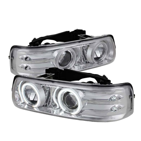 Spyder PRO-YD-CS99-CCFL-C:  Chevrolet Suburban 1500/2500 00-06 CCFL LED ( Replaceable LEDs ) Projector Headlights - Chrome