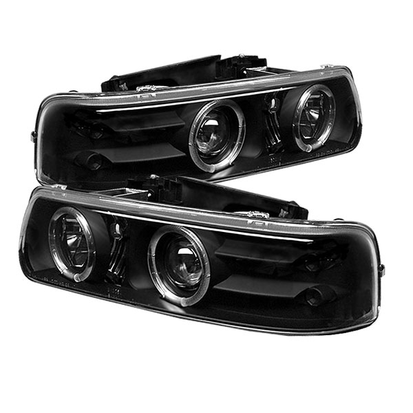 Spyder PRO-YD-CS99-HL-BK:  Chevrolet Silverado 1500/2500 99-02 / Silverado 3500 01-02 Halo LED ( Replaceable LEDs ) Projector Headlights - Black