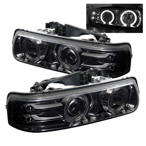 Spyder (5009616)  Chevrolet Tahoe 00-06 Halo LED ( Replaceable LEDs ) Projector Headlights - Smoke  - (PRO-YD-CS99-HL-SMC)