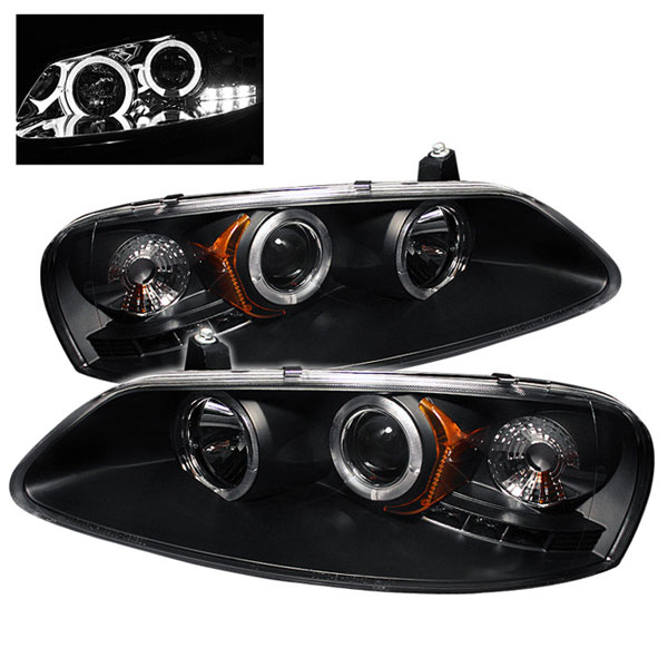 Spyder PRO-YD-CSEB01-HL-BK:  Chrysler Sebring 01-03 4Dr & Convertible (Does Not Fit 2Dr Coupe) Halo LED ( Replaceable LEDs ) Projector Headlights - Black