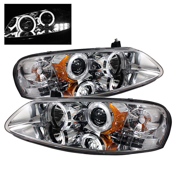 Spyder PRO-YD-CSEB01-HL-C:  Dodge Stratus 01-06 4Dr Halo LED ( Replaceable LEDs ) Projector Headlights - Chrome