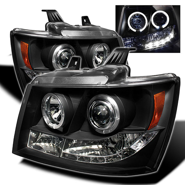 Spyder (5009647)  Chevrolet Tahoe07-12 Halo LED ( Replaceable LEDs ) Projector Headlights - Black  - (PRO-YD-CSUB07-HL-BK)