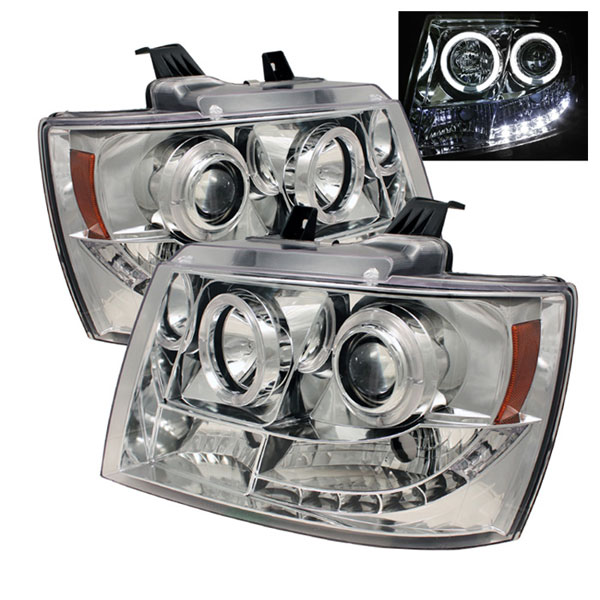 Spyder PRO-YD-CSUB07-HL-C:  Chevrolet Avalanche 07-12 Halo LED ( Replaceable LEDs ) Projector Headlights - Chrome