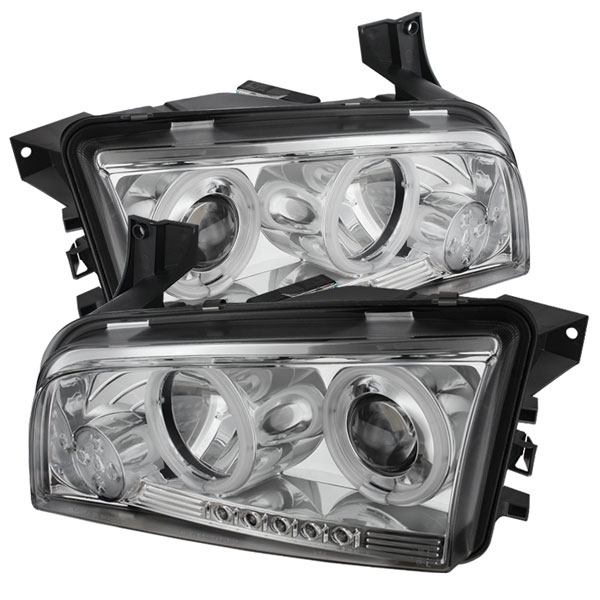 Spyder PRO-YD-DCH05-CCFL-C:  Dodge Charger 06-10 ( Non HID ) CCFL LED ( Replaceable LEDs ) Projector Headlights - Chrome