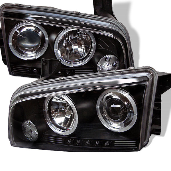 Spyder PRO-YD-DCH05-LED-BK:  Dodge Charger 06-10 ( Non HID ) Halo LED ( Replaceable LEDs ) Projector Headlights - Black