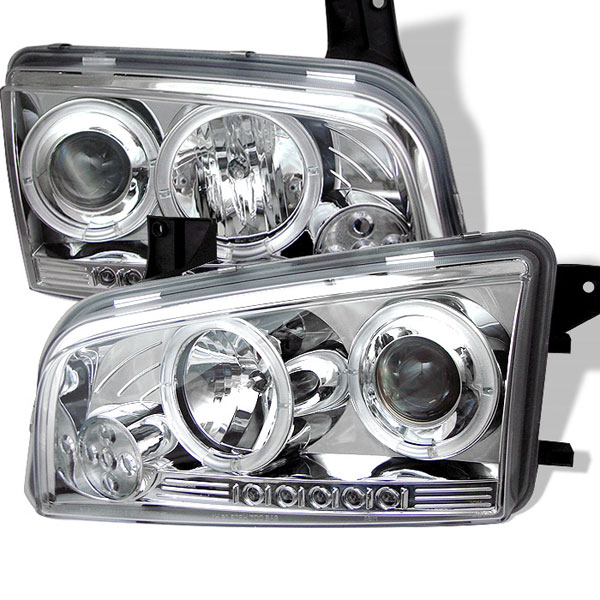 Spyder PRO-YD-DCH05-LED-C:  Dodge Charger 06-10 ( Non HID ) Halo LED ( Replaceable LEDs ) Projector Headlights - Chrome