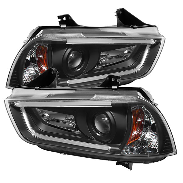 Spyder PRO-YD-DCH11-LTDRL-BK:  Dodge Charger 11-13 Projector Headlights - Halogen Model Only ( Not Compatible With Xenon/HID Model ) - Light Tube DRL - Black - High H1 (Included) - Low H7 (Included)