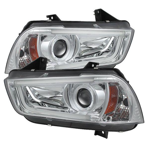 Spyder PRO-YD-DCH11-LTDRL-HID-C:  Dodge Charger 11-13 Projector Headlights - Xenon/HID Model Only (Not Compatible With Halogen Model ) - Light Tube DRL - Chrome - High H1 (Included) - Low D3S (Not Included)