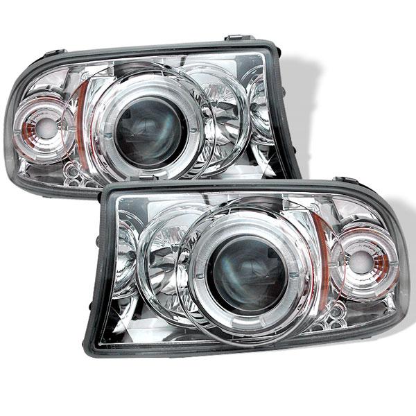 Spyder 5009791 |  Dodge Dakota 97-04 1PC Halo LED ( Replaceable LEDs ) Projector Headlights - Chrome  - (PRO-YD-DDAK97-C)